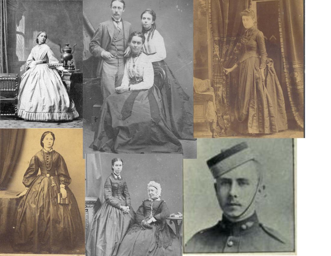 "Bertha`s siblings, clockwise from bottom left: sister Harriet Worrall Gray (later married Henry Stokes) in 1864; another of Harriet in Aldershot, England, where she was caregiver for her aged Pennefather grandparents; front, sister Margaret Gray (Lord), standing Florence Gray (Poole) with cousin Edward Jarvis at left, 1868; sister Mary ""Mim"" Gray (Abbott); stepbrother Arthur Cavendish Hamilton Gray, when serving as a lieutenant with the New Brunswick regiment in the Boer War; and sister Florence with grandmother Lady Pennefather. (McBride Collection)"