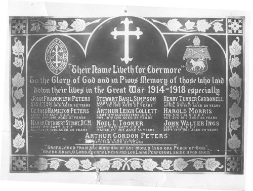 plaque in St. Paul`s Anglican Church in Charlottetown (McBride Collection)