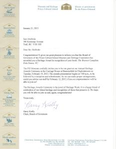 Letter announcing the Heritage Award.