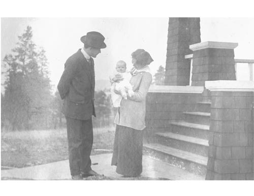 ted and helen at doorstep of vernon home