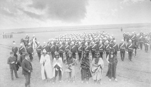 Dewdney, Chief Piapot and his warriors, and the Montreal Garrison Artillery, Regina, Saskatchewan, 1885