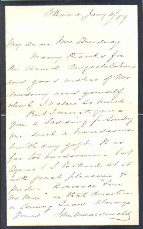 jane dewdney letter from john a macdonald